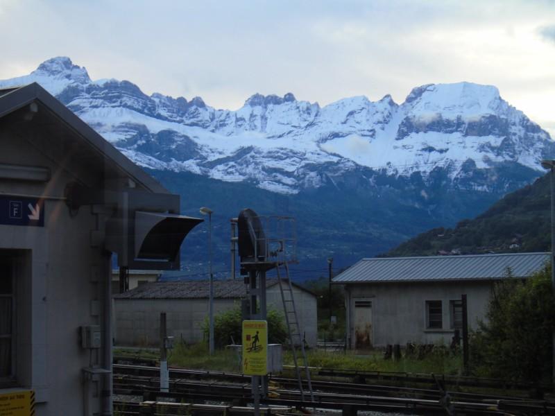 雪化粧したSaint-Gervais-les-Bains-Le Fayet駅