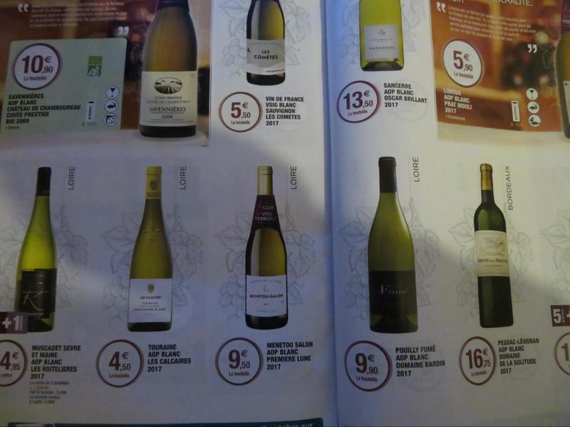 Super-Uで売られているロワール地方の白ワインのカタログ